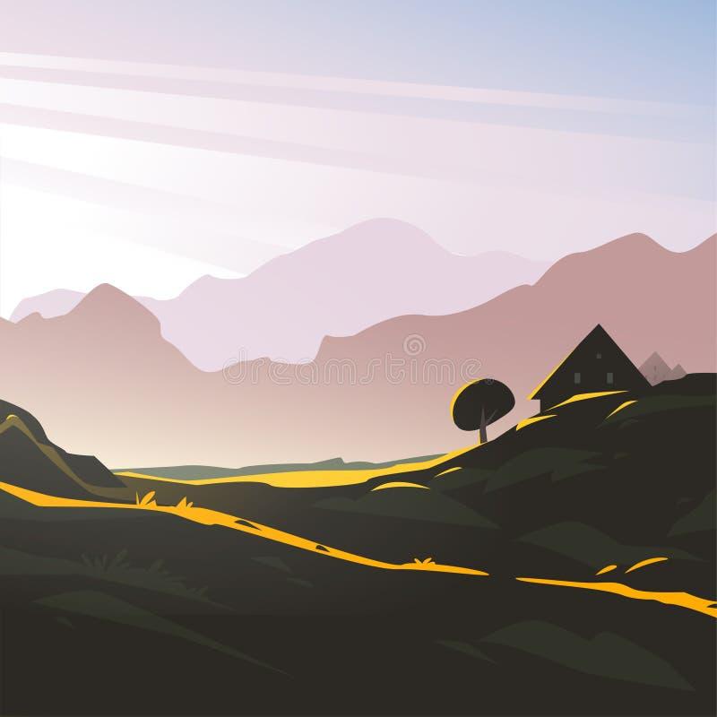 狂放的自然山早晨视图,阳光,舒适房子的传染媒介平的风景minimalistic例证与天空的 库存例证