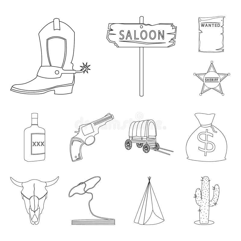 狂放的西部概述象的属性在集合汇集的设计 得克萨斯和美国传染媒介标志股票网 皇族释放例证