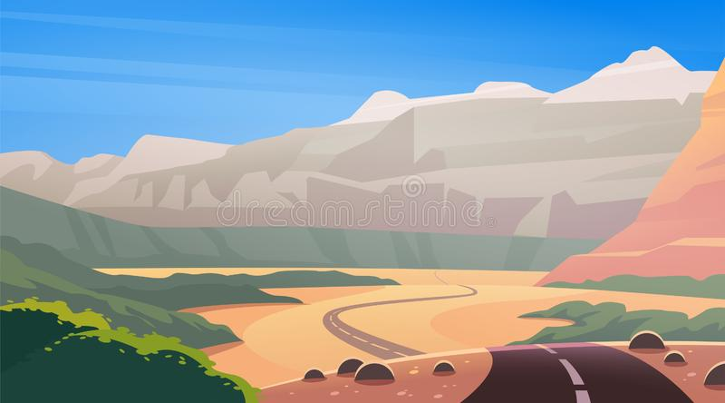 狂放的西部沙漠&山峡谷自然视图的传染媒介平的风景例证与干净的天空蔚蓝的 皇族释放例证
