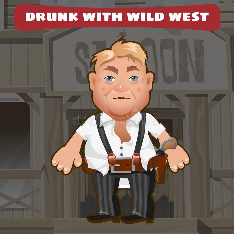 狂放的西部漫画人物-被喝的人 库存例证