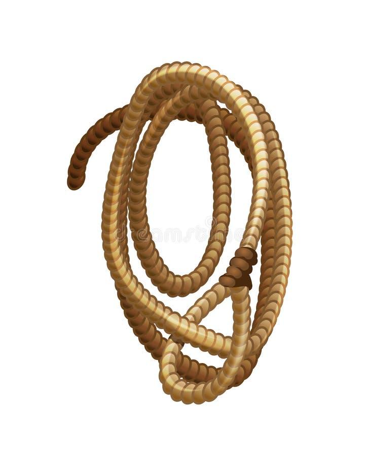 狂放的西部的元素,牛仔的套索绳索 向量例证