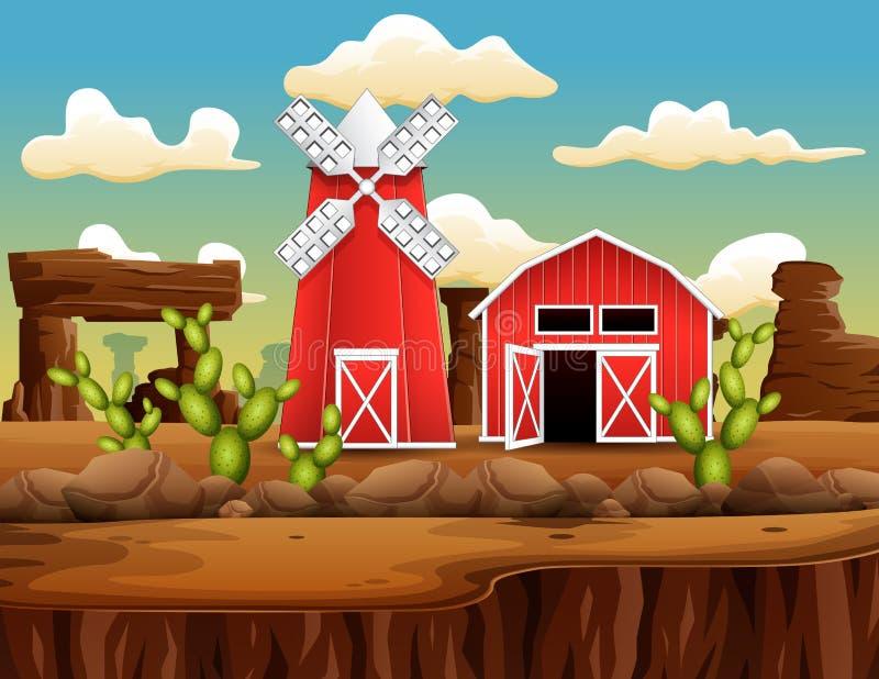 狂放的西部镇风景的一个农场 皇族释放例证