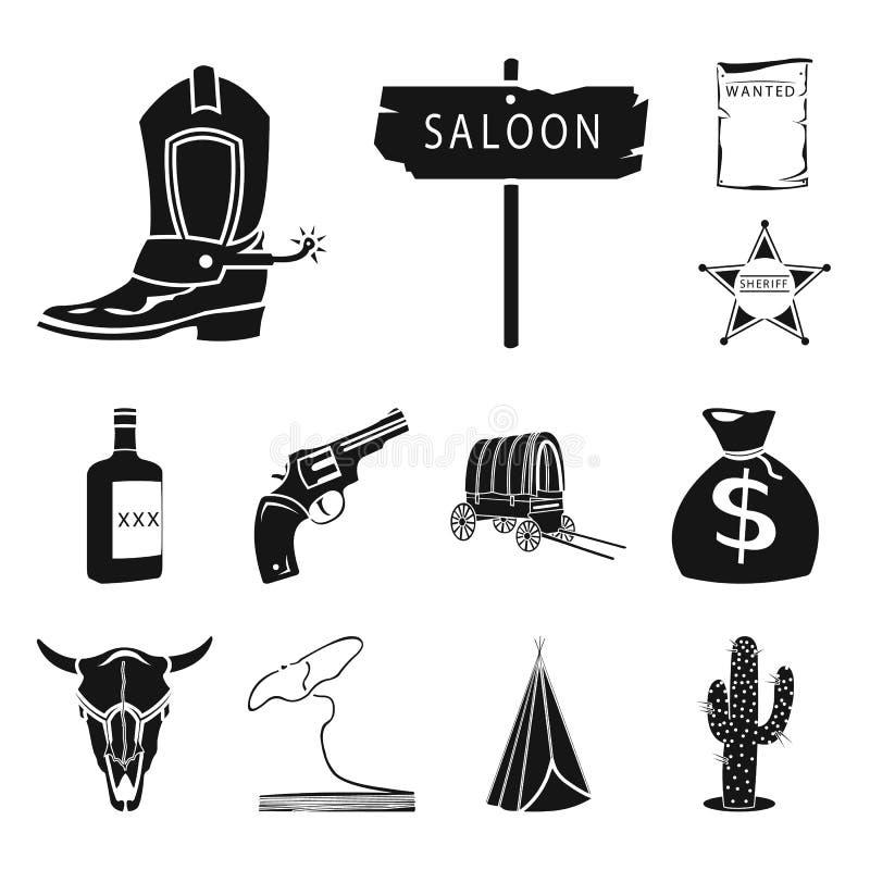 狂放的西部黑象的属性在集合汇集的设计 得克萨斯和美国传染媒介标志股票网 皇族释放例证