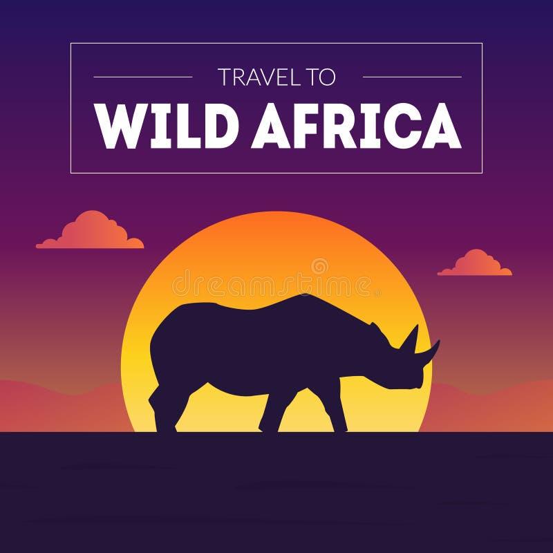 狂放的非洲横幅模板,与犀牛剪影的美好的非洲风景在日落传染媒介例证 向量例证