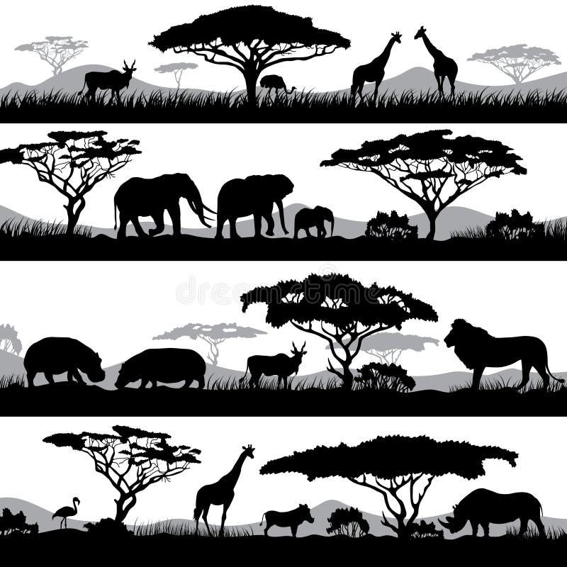狂放的非洲生活 不同的动物和树背景剪影  库存例证