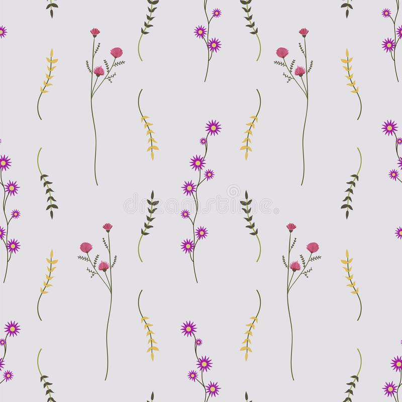 狂放的鲜花平展放置无缝的样式 向量例证