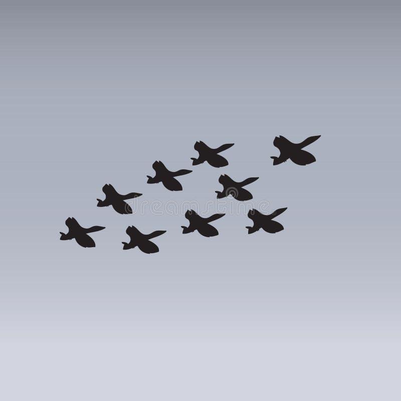狂放的鹅群 向量例证