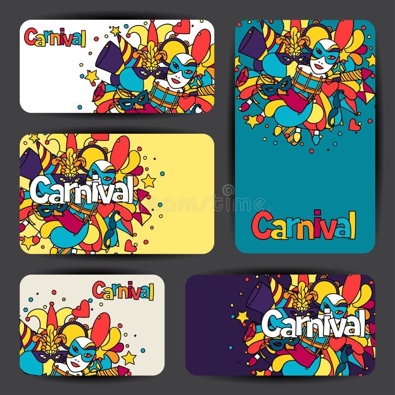 狂欢节与乱画象和对象的展示卡片 库存例证