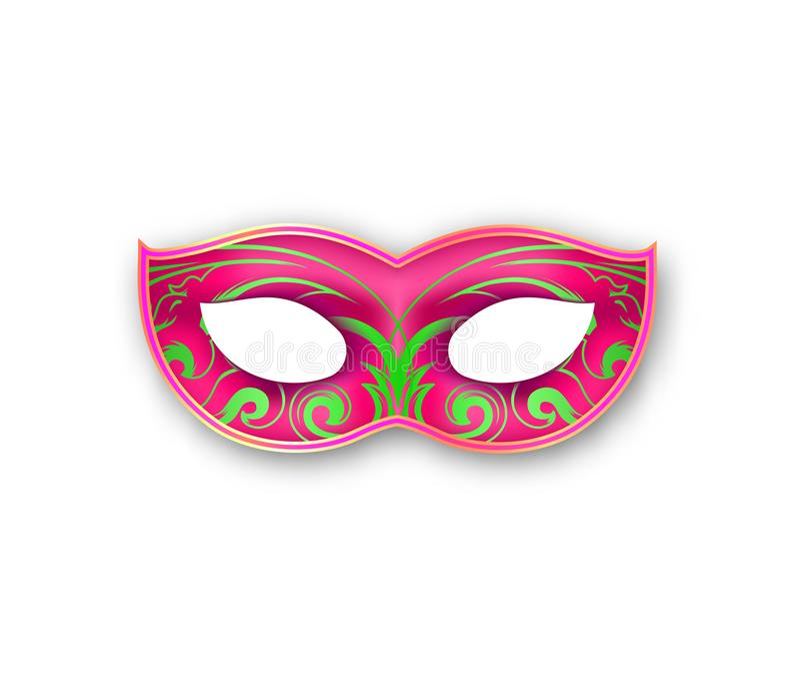 狂欢节与装饰花卉元素的面具粉色 地道威尼斯式被绘的狂欢节面膜 化妆舞会 库存例证