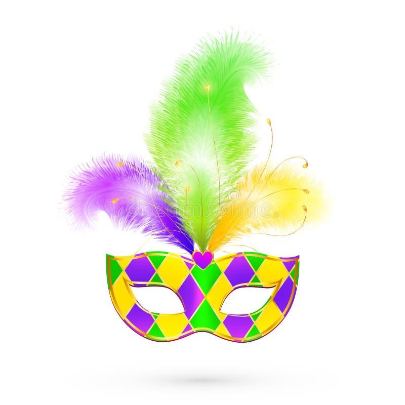 狂欢节传统颜色传染媒介面具 皇族释放例证