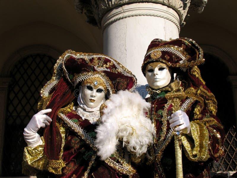狂欢节夫妇意大利贵族威尼斯 免版税库存照片