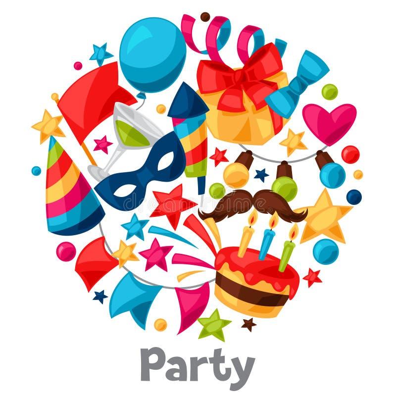 狂欢节展示和党贺卡与 向量例证