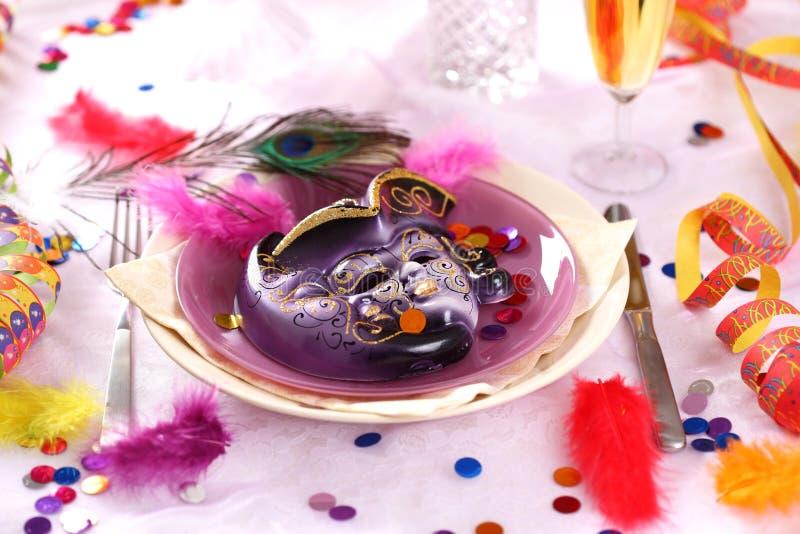 狂欢节当事人餐位餐具 库存照片