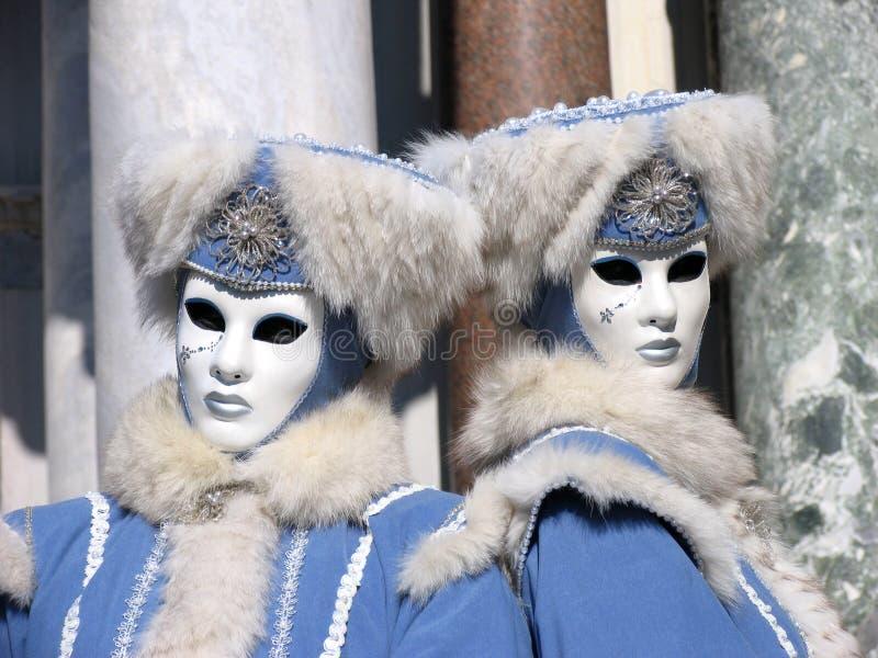 狂欢节愤怒的意大利孪生威尼斯 库存照片