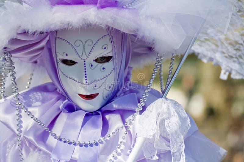 狂欢节服装屏蔽威尼斯 库存图片