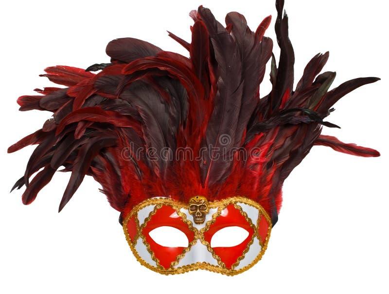 狂欢节用羽毛装饰威尼斯式的屏蔽 库存照片