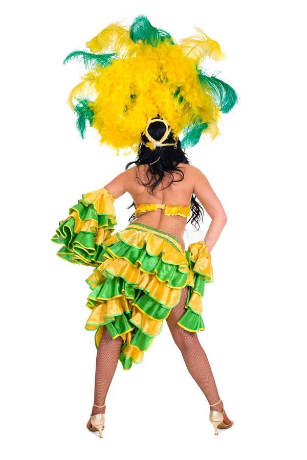 狂欢节舞蹈家妇女跳舞,背面图 免版税库存照片