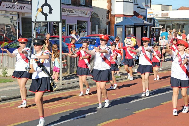 狂欢节街道游行军乐队女队长 库存照片