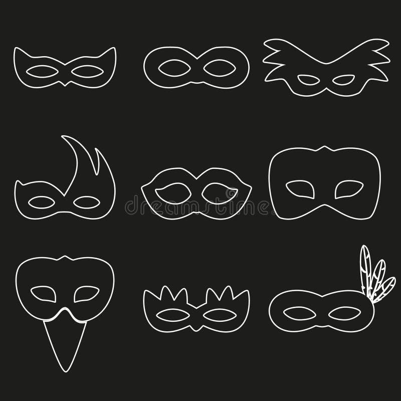 狂欢节里约白色概述面具设计eps10 皇族释放例证
