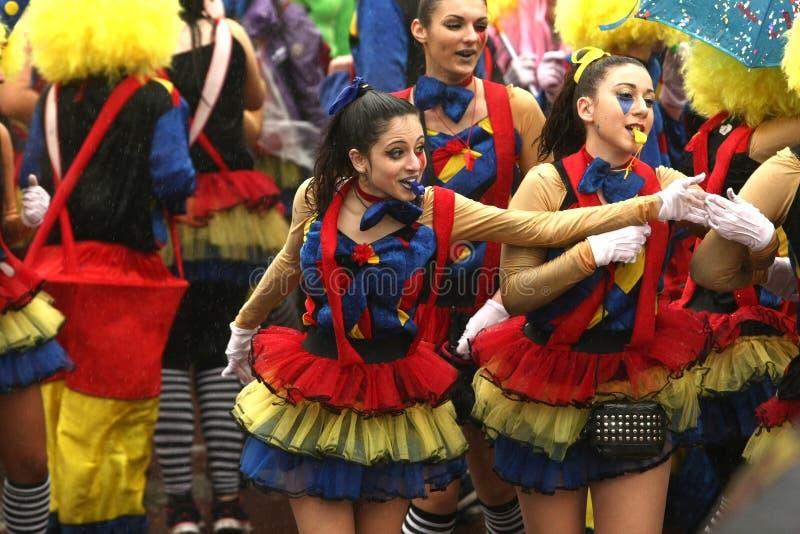 狂欢节队伍在克桑西,希腊 库存图片