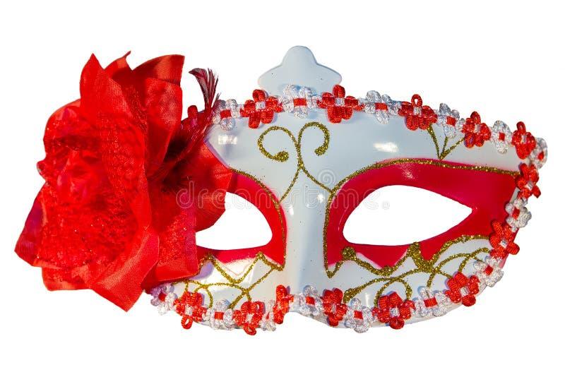 狂欢节面具弓装饰开花边界白色 免版税图库摄影