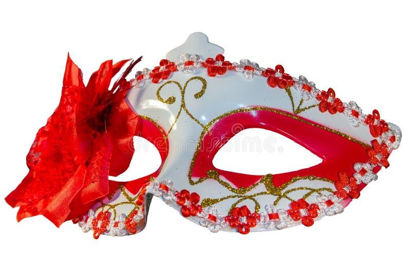 狂欢节面具弓装饰开花边界白色 免版税库存图片
