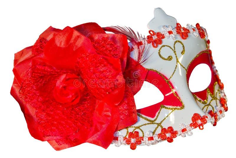 狂欢节面具弓装饰开花边界白色 免版税库存照片