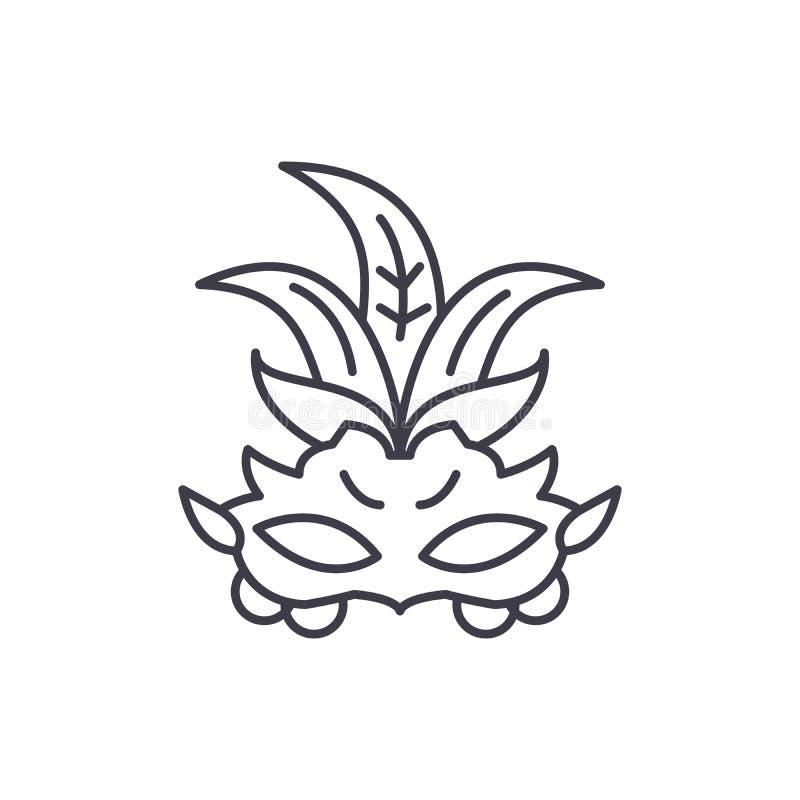 狂欢节面具线象概念 狂欢节面具传染媒介线性例证,标志,标志 皇族释放例证