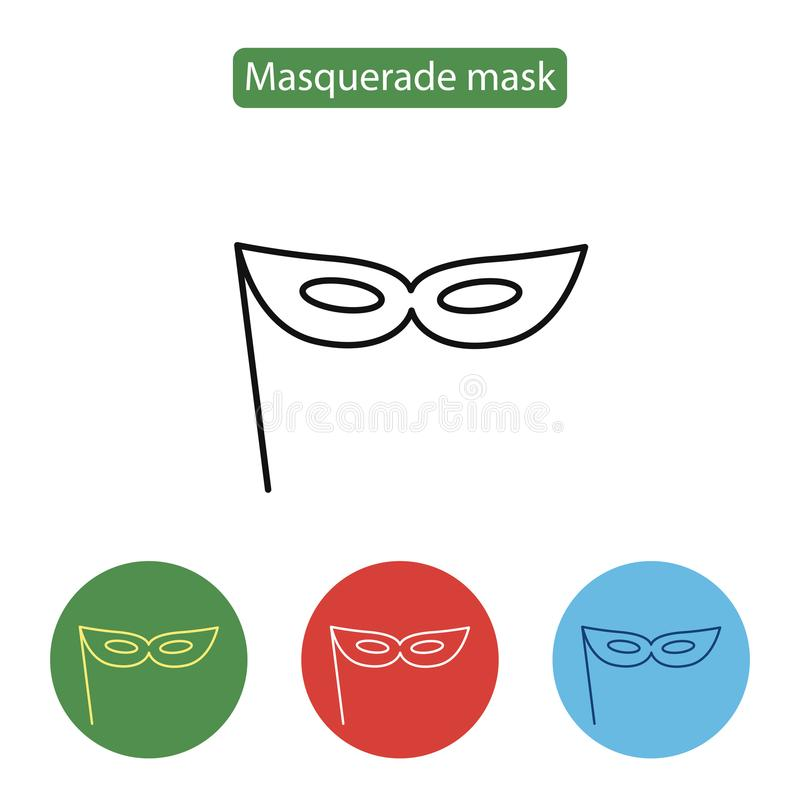 狂欢节面具象线象,概述传染媒介标志 库存例证