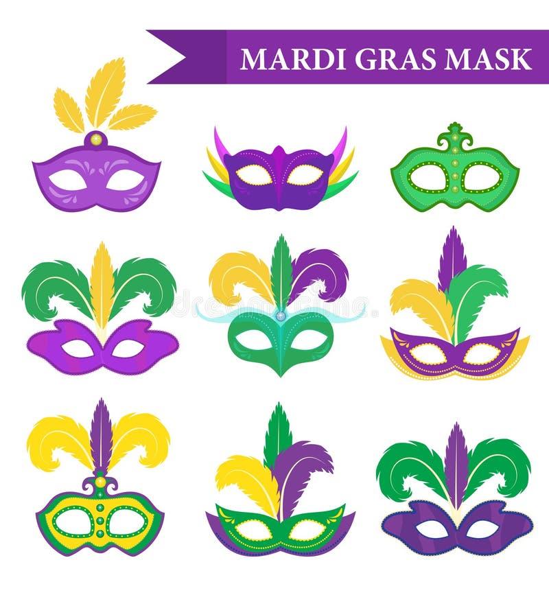 狂欢节面具集合,设计元素,平的样式 与羽毛的汇集面具 皇族释放例证
