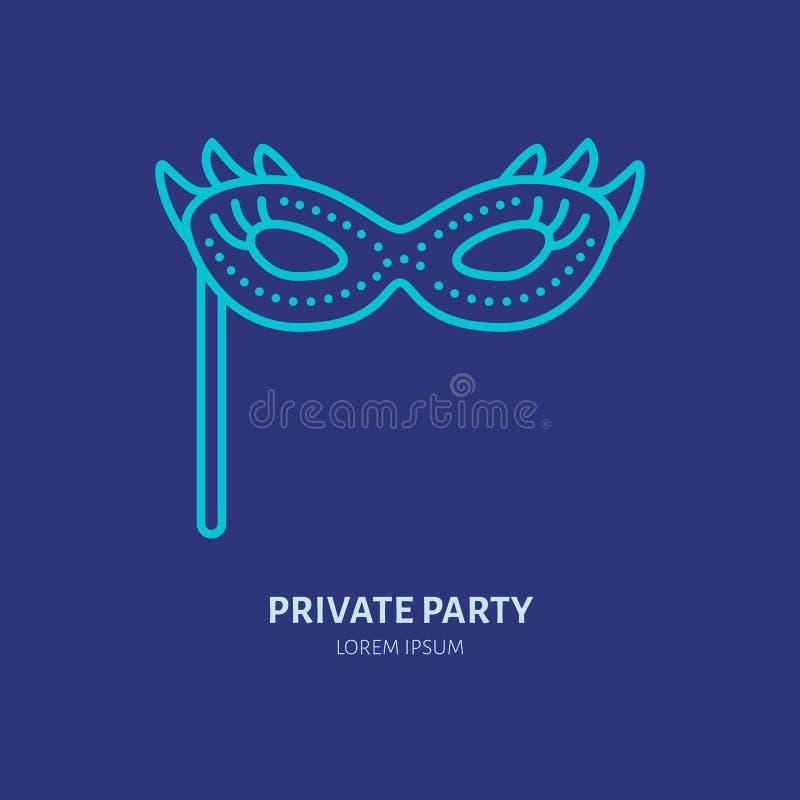 狂欢节面罩线象 导航秘密政党服务或事件机构的商标 节日的线性例证 皇族释放例证