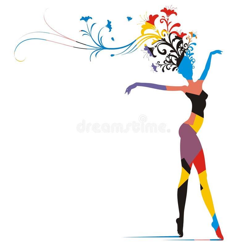 狂欢节颜色剪影妇女 向量例证