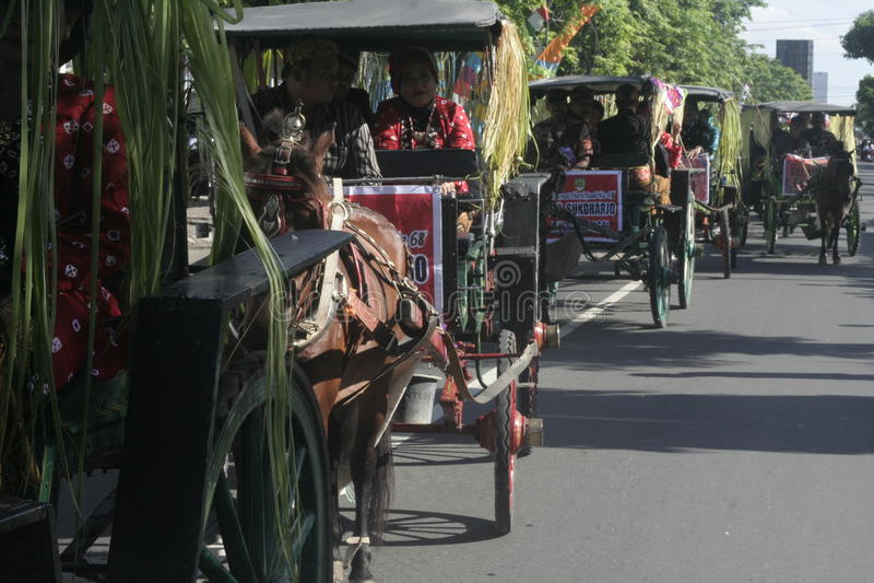 狂欢节马支架在Sukoharjo 免版税库存照片