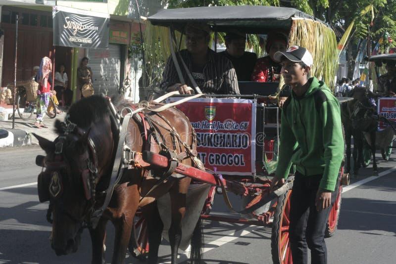 狂欢节马支架在Sukoharjo 免版税库存图片