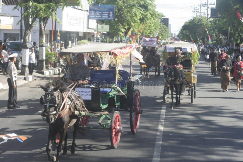狂欢节马支架在Sukoharjo 库存图片