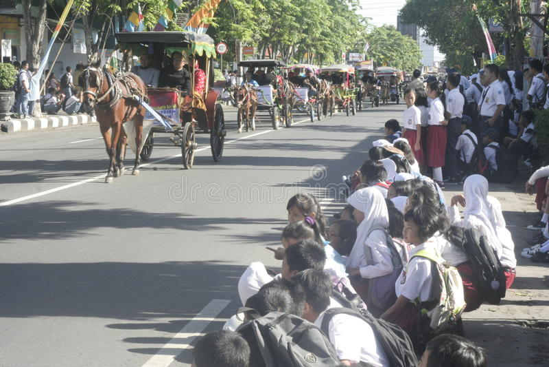 狂欢节马支架在Sukoharjo 库存照片
