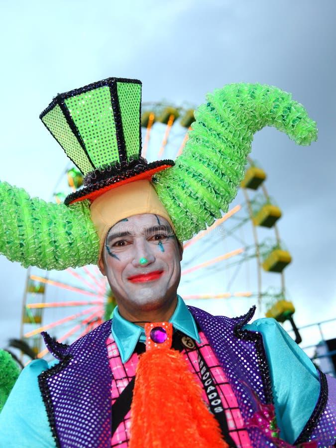 狂欢节clown ・ cruz de圣诞老人・ tenerife 免版税库存照片
