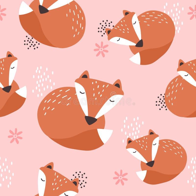 狐狸和花,装饰逗人喜爱的背景 E 库存例证