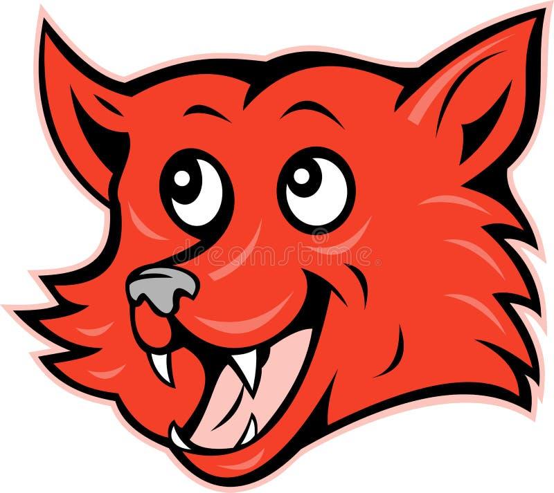 狐狸咧嘴笑顶头红色微笑 皇族释放例证