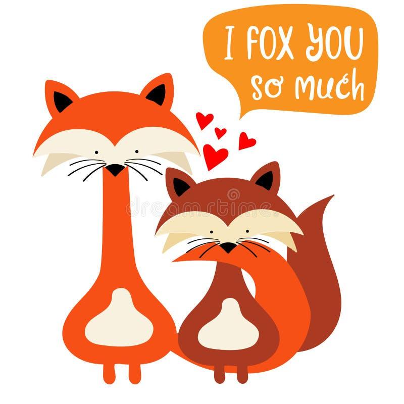 狐狸在爱结合 滑稽的华伦泰` s天卡片 皇族释放例证