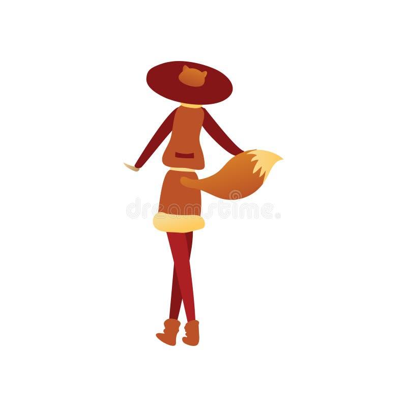 狐狸服装的妇女有红色帽子和尾巴的,后面看法 狂欢节或万圣节聚会的成套装备 平的传染媒介设计 皇族释放例证