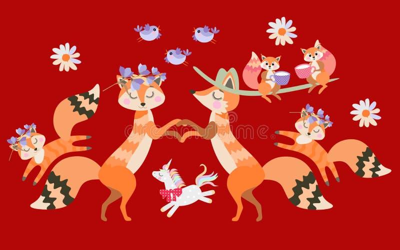 狐狸父母握手,并且狐狸儿童和小独角兽快活在他们附近跳跃 库存例证