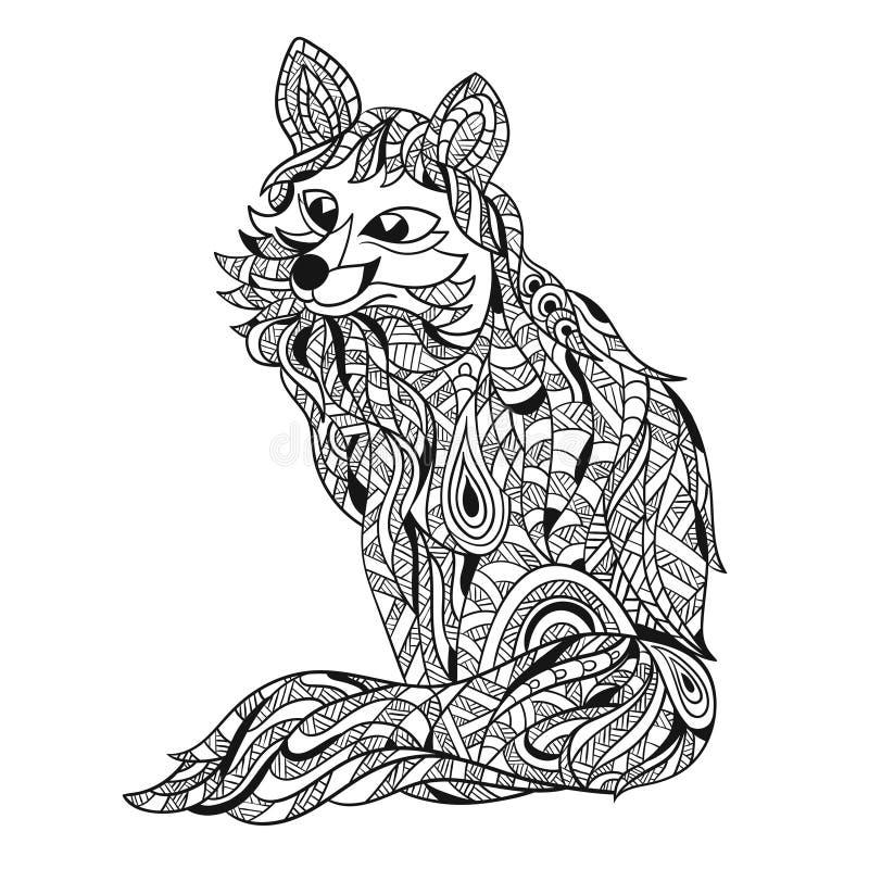 狐狸的传染媒介单色手拉的zentagle例证 库存例证