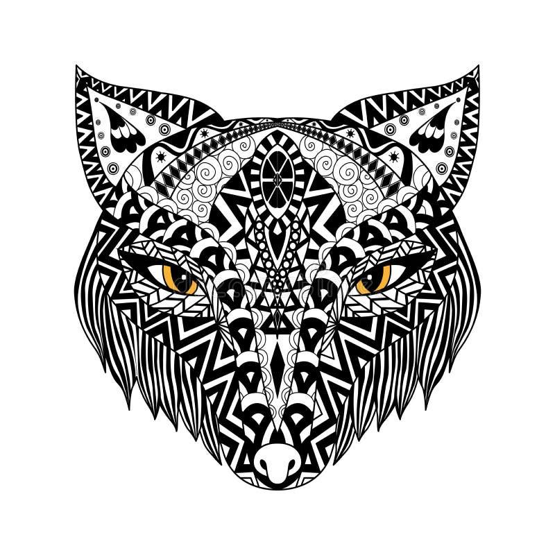 黑狐狸T恤杉或印刷品或者彩图的zentangle样式 免版税图库摄影
