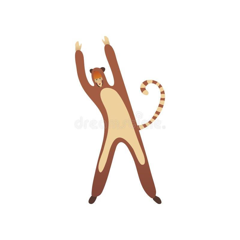 狐猴服装的逗人喜爱的少女  站立用手的妇女 万圣夜党的成套装备 平的传染媒介设计 向量例证