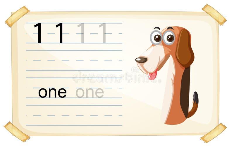 狗一数字活页练习题 皇族释放例证
