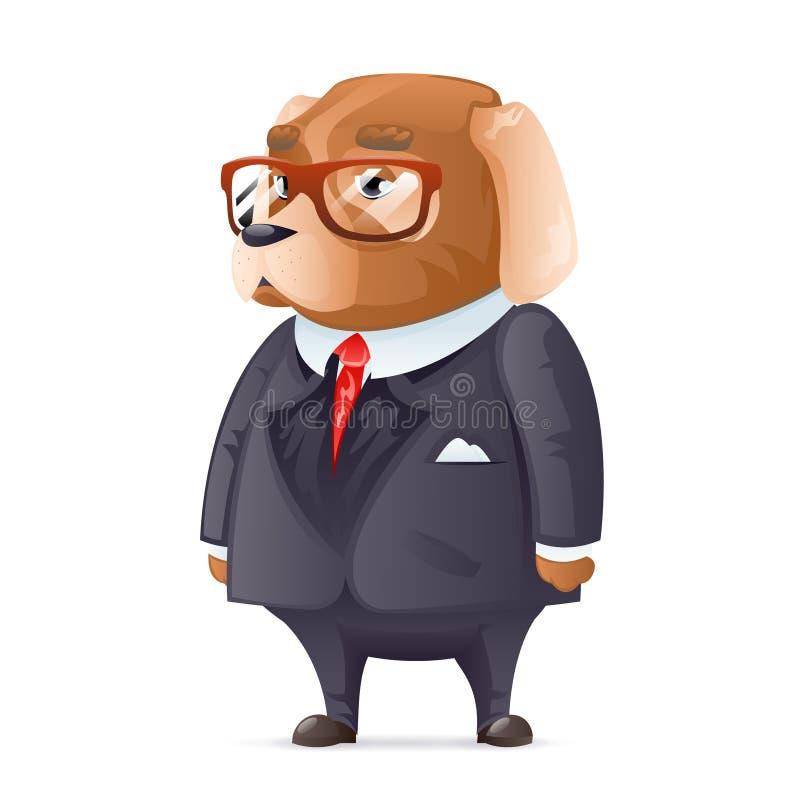狗上司时兴的西装好男孩玻璃字符动画片设计传染媒介例证 向量例证