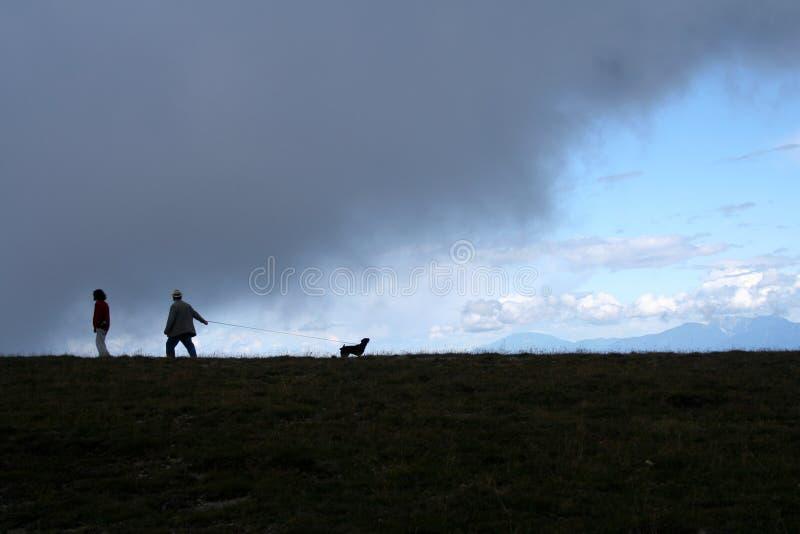 狗人们现出轮廓的走 免版税库存图片