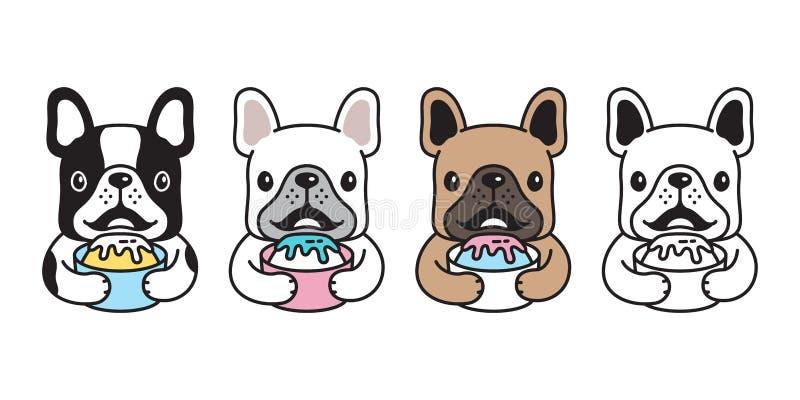 狗传染媒介法国牛头犬象卡通人物小狗冰淇淋商标例证乱画 库存例证