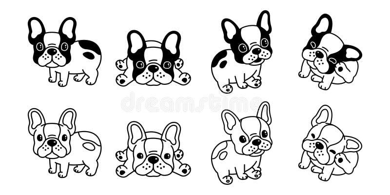狗传染媒介法国牛头犬象商标卡通人物例证剪贴美术标志黑色 皇族释放例证
